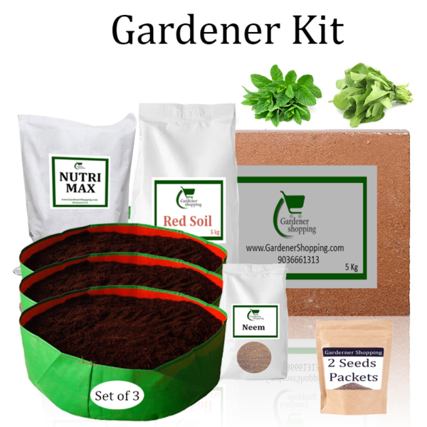 Circular Grow Bags Gardener Kit Starter recommend- Mint-Pudina And Spinach (Buy Complete Grow kit/ Growing kit Online India) - Gardenershopping