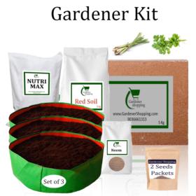 Circular Grow Bags Gardener Kit Starter recommend- Lemon Grass, Coriander (Buy Complete Grow kit/ Growing kit Online India) - Gardenershopping