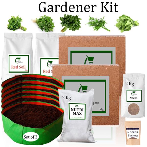 Circular Grow Bags Gardener Kit Value Added- Parsley, Methi, Amaranthus, Dill, Spinach (Buy Complete Grow kit/ Growing kit Online India) - Gardenershopping