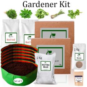 Circular Grow Bags Gardener Kit Value Added- Methi, Mint-Pudina, Spinach, Lemon Grass, Coriander (Buy Complete Grow kit/ Growing kit Online India) - Gardenershopping