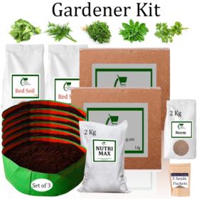 Circular Grow Bags Gardener Kit Value Added- Spinach, Dill, Methi, Mint-Pudina, Coriander (Buy Complete Grow kit/ Growing kit Online India) - Gardenershopping