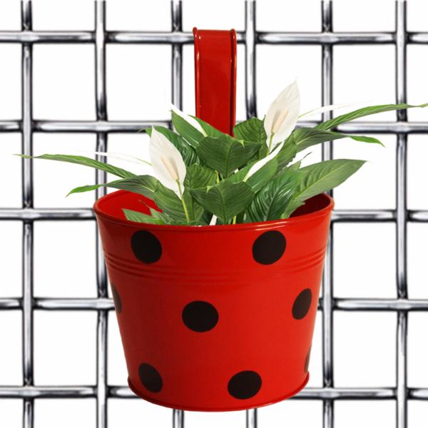 Bingo pot- Round Dotted Railing Planter- Yellow - Gardenershopping