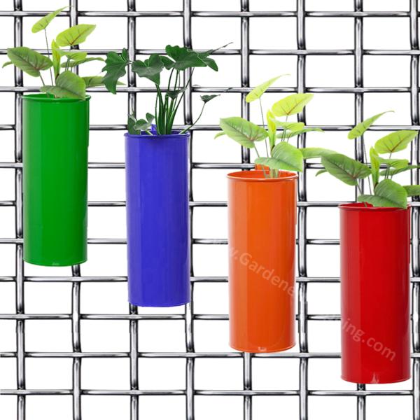 Cylindrical Balcony Railing Planters- Green, Purple, Orange & Red (4 FIFE POTS) - Gardenershopping