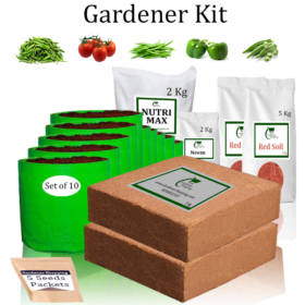 Grow Bags Gardener Kit Value Added- Green Chilli Small, Round Tomato, French Beans, Capsicum Green, Ladies Finger (Buy Complete Grow kit/ Growing kit Online India) - Gardenershopping