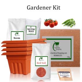 Plastic Pots Gardener Kit Starter recommend- Round Tomato, Ladies Finger (Buy Complete Grow kit/ Growing kit Online India) - Gardenershopping