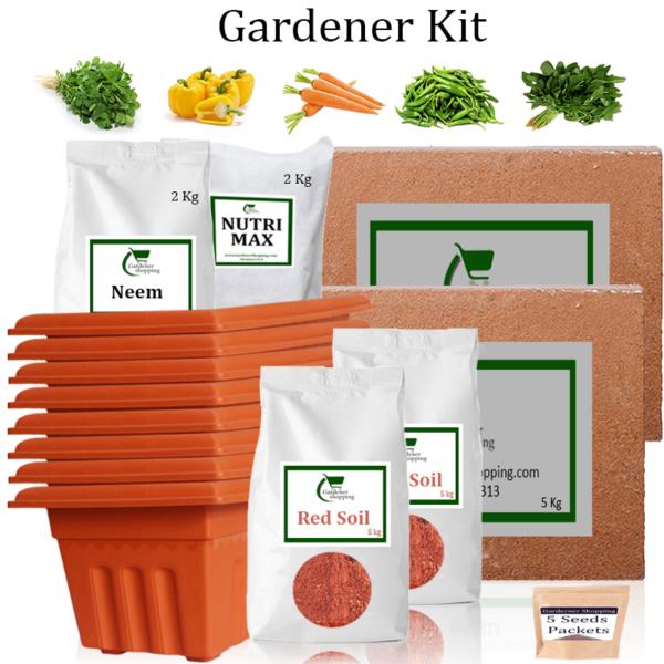 Plastic Pots Gardener Kit Value Added- Methi, Capsicum Yellow, Carrot, Green Chilli Small, Amaranthus (Buy Complete Grow kit/ Growing kit Online India) - Gardenershopping