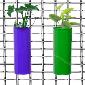 Set of 2- Fife pots- Cylindrical Railing Planters- Purple And Green - Gardenershopping