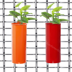 Set of 2- Fife pots- Cylindrical Railing Planters- Orange And Red - Gardenershopping