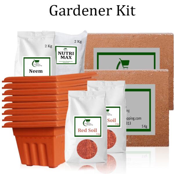 Plastic Pots Gardener Kit Value Added (Buy Complete Grow kit/ Growing kit Online India) - Gardenershopping