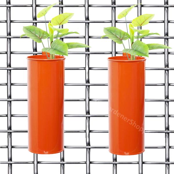 Set of 2- Fife pots- Cylindrical Railing Planters- Orange - Gardenershopping